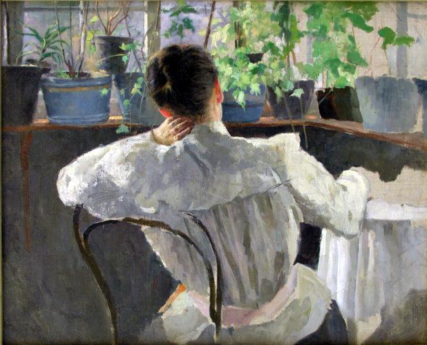 Жінка на веранді