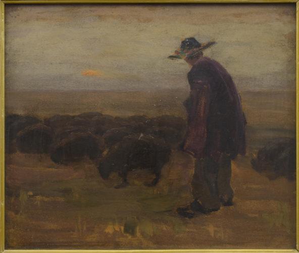 Гуцул зі стадом на світанку
