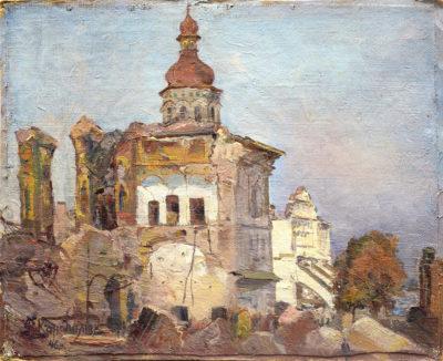 Руїни Успенського собору лаври. Етюд