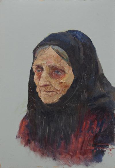 Мати партизана з Кодрів. Етюд
